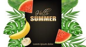 现实夏天热带棕榈叶横幅的传染媒介 香蕉和西瓜水多的果子 金黄文本夏天海报 向量例证