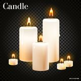 现实套在透明背景,现实传染媒介例证的灼烧的蜡烛 免版税库存照片