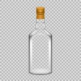 现实有螺帽的模板空的美丽的玻璃威士忌酒瓶 免版税库存照片