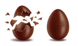 现实朱古力蛋集合,经纪,分解的和整个,甜鲜美蛋壳,复活节标志,传染媒介例证 库存例证
