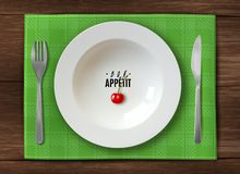 现实板材服务 在木桌上的白色干净的祝愿您好的妙语appetit的板材与刀子和叉子绿色方格 库存例证