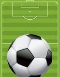 现实橄榄球-在织地不很细领域的足球 免版税库存图片