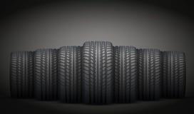 现实橡胶轮胎横幅 也corel凹道例证向量 免版税库存照片