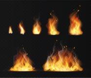 现实火焰 热的发火焰被隔绝的传染媒介的火球温暖的熔炉火燃烧的作用抽象火炬红色火焰 库存例证