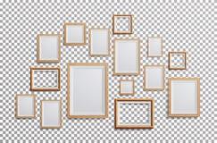 现实照片框架传染媒介 三角板, A3, A4大小轻的木空白的画框,垂悬在从的透明背景 免版税库存照片