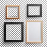 现实照片框架传染媒介 3d三角板, A3, A4估量轻的木空白的画框,垂悬在与S的透明背景 库存照片