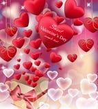 现实爱红色封缄信片的传染媒介 愉快的情人节问候 免版税图库摄影