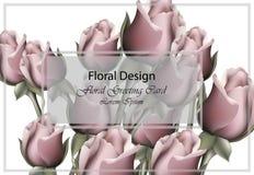 现实玫瑰花卉贺卡的传染媒介 浪漫花花束模板背景 皇族释放例证