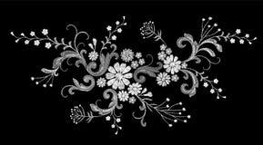 现实白色传染媒介刺绣时尚补丁 花玫瑰色雏菊留给葡萄酒维多利亚女王时代的设计 针纹理 向量例证