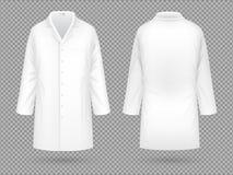 现实白色医学实验室外套,被隔绝的医院专业衣服传染媒介模板 皇族释放例证