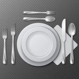 现实空的圆的板材、瓷盘、钢叉子、匙子和刀子在桌上导航例证 免版税库存图片
