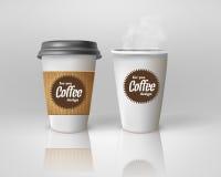 现实纸咖啡杯集合 库存例证