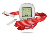 现实血糖仪glucometer,糖尿病血糖测试隔绝了3d例证 库存图片