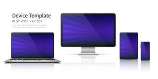 现实设备 计算机膝上型计算机片剂电话大模型,智能手机屏幕流动小配件显示 显示器设备模板 向量例证