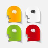 现实设计元素:顶头面孔脑子 免版税库存图片