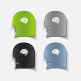 现实设计元素:顶头面孔脑子 免版税图库摄影