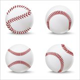 现实详细的3d棒球皮革球集合 向量 免版税库存照片
