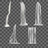 现实详细的3d瀑布元素集 向量 免版税库存图片