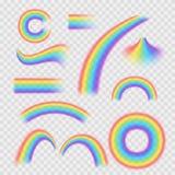 现实详细的3d被设置的彩虹不同的形状 向量 向量例证