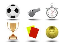 现实足球套与被隔绝的裁判员对象、战利品、橄榄球球,秒表,黄色和红牌的象  向量例证