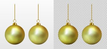 现实透明金子圣诞节球 新的玩具年 皇族释放例证
