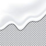 现实酸奶白色纹理 蛋黄酱调味汁 在透明背景的液体乳脂状的纹理 向量 皇族释放例证