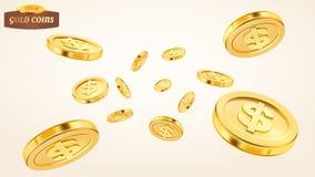 现实金币爆炸或飞溅在白色背景 铸造栾树 落的或飞行的金钱 堆 图库摄影