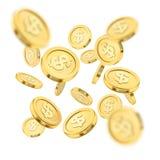 现实金币爆炸或飞溅在白色背景 铸造栾树 落的货币 宾果游戏困境或 库存照片