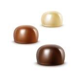 现实黑黑暗的苦涩白色牛奶巧克力糖果 向量例证