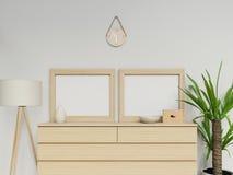 现实3d使与两个a3空白海报的舒适家庭内部假装与垂直的轻的木框架的设计坐抽屉 皇族释放例证