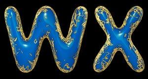 现实3D信件集合W,X做了金发光的金属信件 向量例证