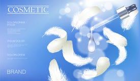 现实3D化妆广告模板 浅兰的透明玻璃精华吸移管油维生素泡影血清面孔关心白色 向量例证