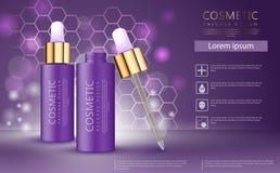 现实3d化妆设计模板 芳香油广告模板,精华瓶 向量例证