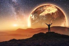 现实3D地球Lyustration 美国航空航天局礼貌  例证人类空间向量 免版税库存照片