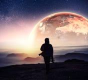 现实3D地球Lyustration 美国航空航天局礼貌  例证人类空间向量 库存图片