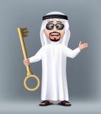 现实3D英俊的沙特阿拉伯人字符 库存图片