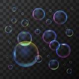 现实3d详述了在透明背景的肥皂泡 向量 皇族释放例证