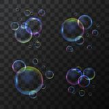 现实3d详述了在透明背景设置的肥皂泡 向量 库存例证
