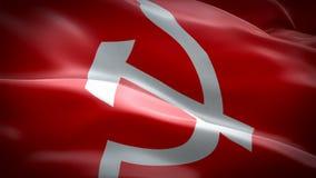 现实3D详述了苏联挥动在风的旗子录影 现实共产主义CCCP旗子背景 苏联旗子使成环 向量例证