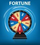 现实3d转动的时运在蓝色背景转动 网上赌博娱乐场的幸运的轮盘赌 也corel凹道例证向量 皇族释放例证