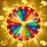 现实3d转动的时运转动与飞行金黄硬币 幸运的轮盘赌 库存例证