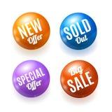 现实3d销售折扣发光的圈子按钮徽章Pin集合 向量 免版税图库摄影