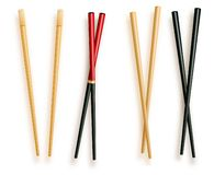 现实3d食物筷子设置了不同 传统亚洲竹器物颜色的传染媒介例证 皇族释放例证