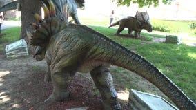 现实styraseurus恐龙在后边公园 股票视频