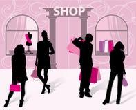现有量人购物的剪影妇女 库存图片