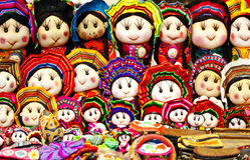 现有量做秘鲁玩偶, Cuzco,秘鲁 图库摄影