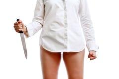 现有量刀子妇女 库存照片
