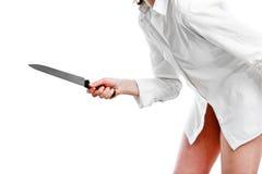 现有量刀子妇女 免版税库存照片