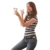 现有量水管设计妇女年轻人 图库摄影