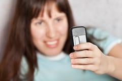 现有量移动电话妇女 免版税库存照片